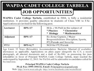 Teachers Jobs at Wapda Cadet College Terbela