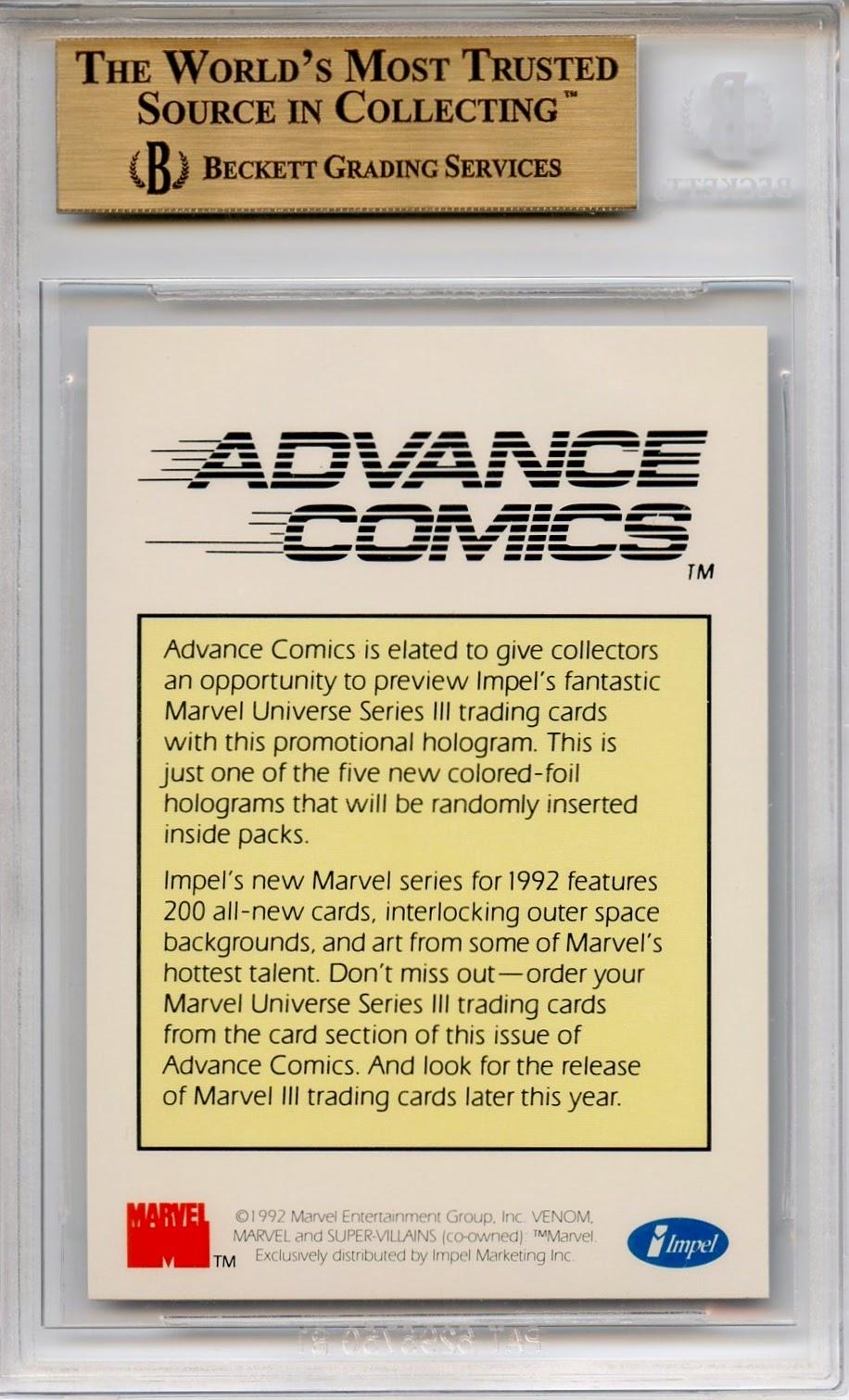Graded Marvel Cards 1992 Impel Marvel Universe Hologram Promo Venom