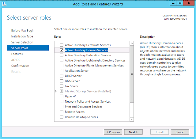 Windows Server 2012 active directory installation