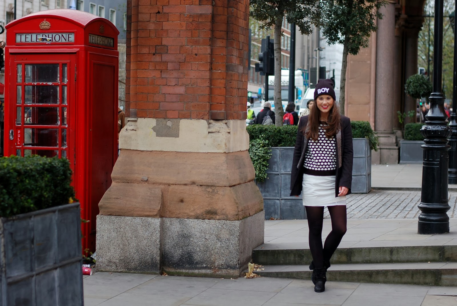 Photography by Tara Verbon  Boots: Sacha shoes, skirt: Vila, jumper: Primark, jacket: Zara, beanie: ComeGetFashion