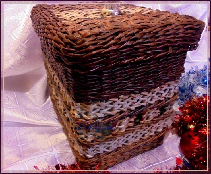 Плетение из газетных трубочек короб с крышкой 5