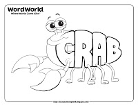 word world crab coloring pages