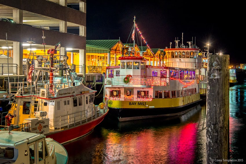 Portland, Maine USA December 2015 photo by Corey Templeton. The Bay Mist, a Casco Bay Lines ferry, all decked out for the holidays.