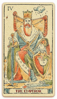 The Emperor card - Colored illustration - In the spirit of the Marseille tarot - major arcana - design and illustration by Cesare Asaro - Curio & Co. (Curio and Co. OG - www.curioandco.com)