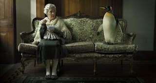 old lady and penguin