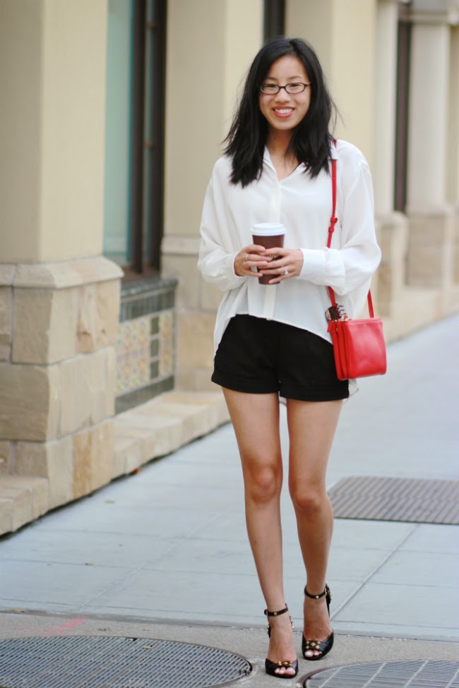 black white red outfit classic essential
