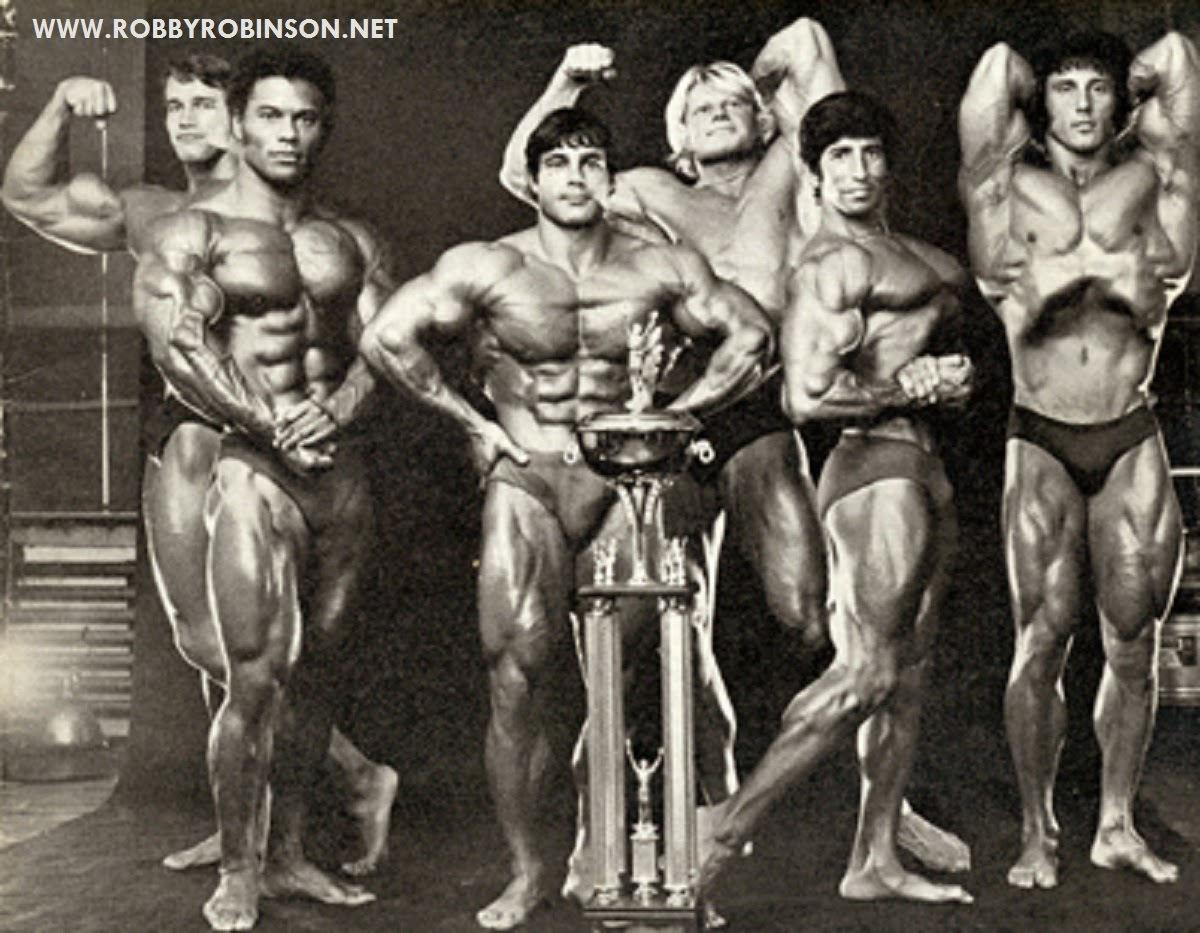 "Arnold Schwarzenegger, Serge Nubret, Franco Columbu; Dave Draper; Eddie Giuliani and Frank Zane Read about RR's training and life experience, about other legends of Golden Era of bodybuilding and what really happened behind the scenes of Weider's empire - in RR's BOOK ""The BLACK PRINCE; My Life in Bodybuilding: Muscle vs. Hustle"" ● www.robbyrobinson.net/books.php ●"