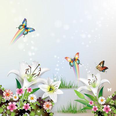Ilustración con mariposas y flores para el fondo de tu iPad 2048x2048 iPad 2 - 1024x1024
