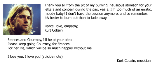 Real celebrity suicide notes