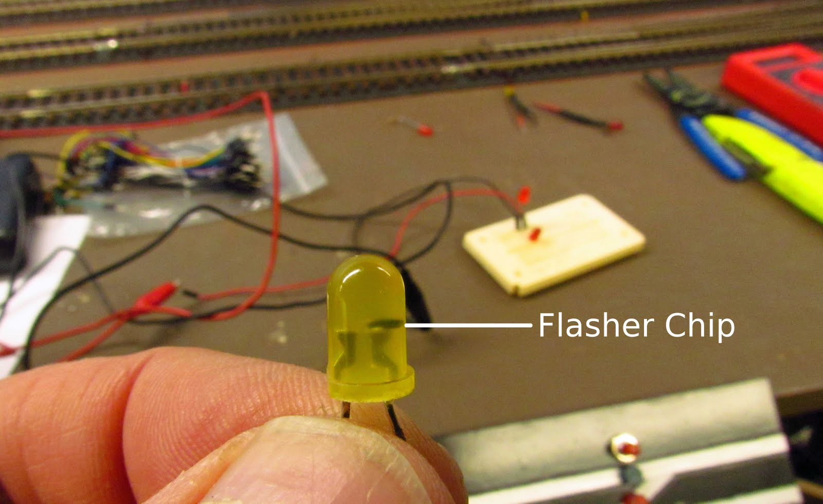 2 Rail O Scale Railroading Using Specialty Leds Part 1 Picture Of Choosing The Resistor To Use With Most Flashing Is Simplicity Itself Simply Hook Led Up 3v Dc Observing Proper Polarity And They Begin No