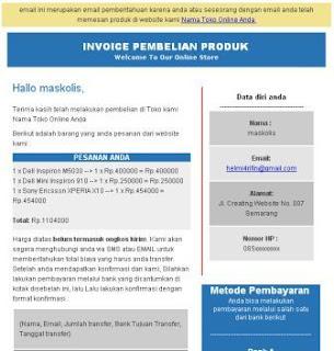 Invoice pembelian di email pembeli