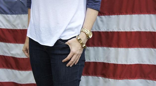 Stella and Dor luxor link, Michael Kors gold watch, baseball tee