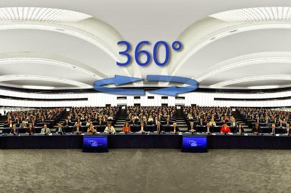 Πανοραμική φωτογραφία 360 μοιρών της σύνθεσης του ΕΚ στην αίθουσα της ολομέλειας του Στρασβούργου