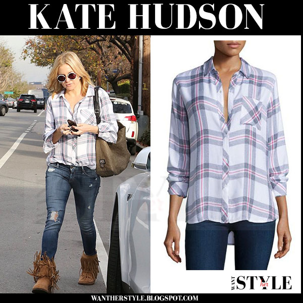 Kate Hudson in plaid Rails Hunter shirt and fringed suede boots what she wore streetstyle