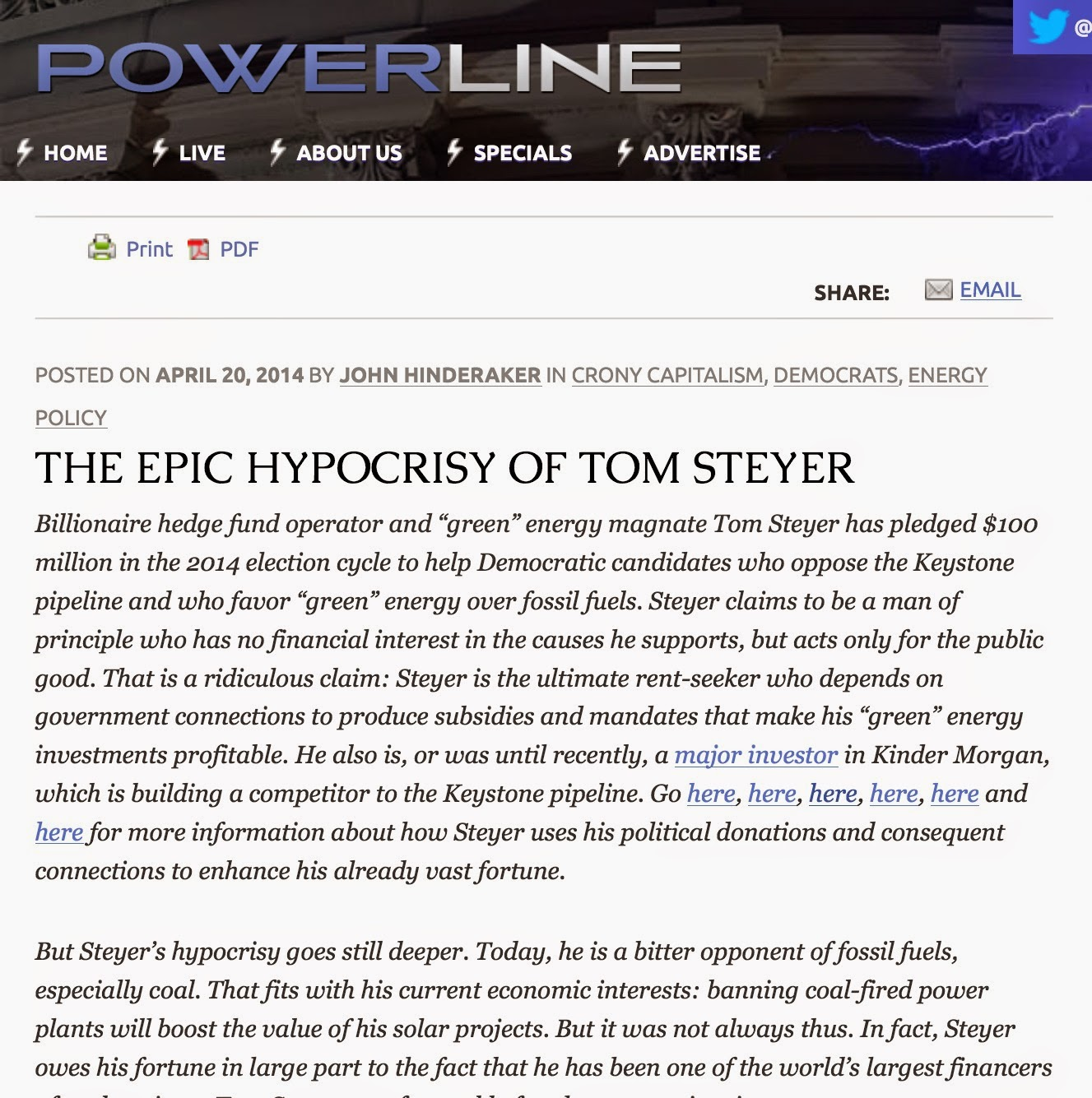 April 20, 2014: THE EPIC HYPOCRISY OF TOM STEYER