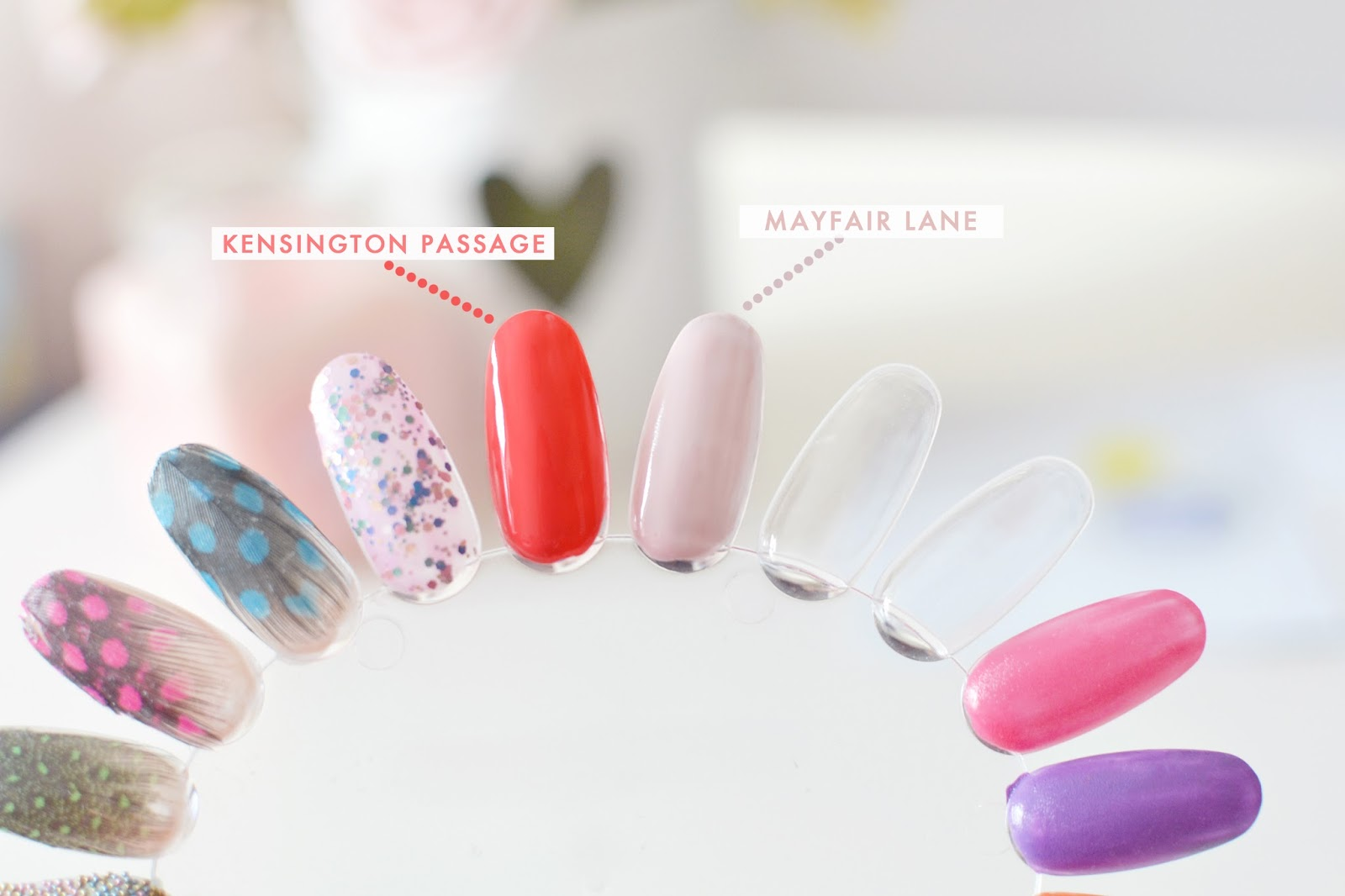 nails inc mayfair lane swatch, kensington passage swatch