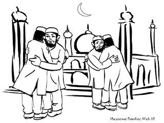 Mewarnai Gambar Lebaran Saling Berma'afan Setelah Shalat Idul Fitri