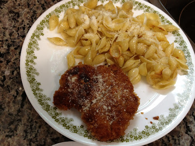 sauceless chicken parmesan and buttered shells