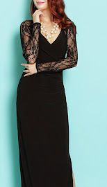 Long Net Lace Sleeve Black Maxi