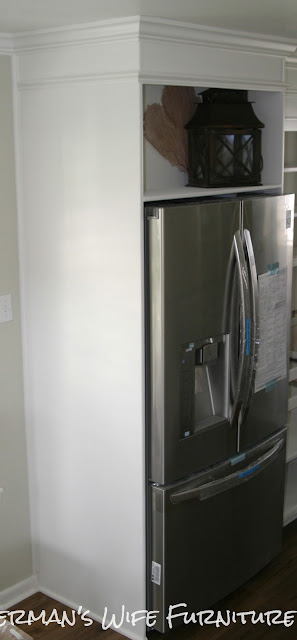 custom furniture Galveston Houston Tx, white kitchen, painted kitchen cabinets, DIY refrigerator enclosure