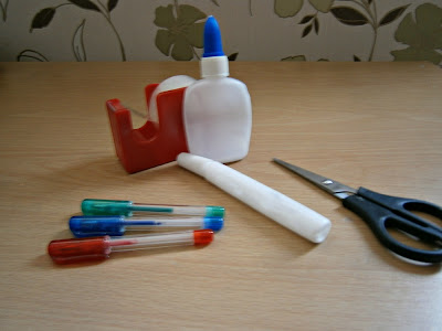 glue sticky tape, selotape pens and scissors art and craft essentials