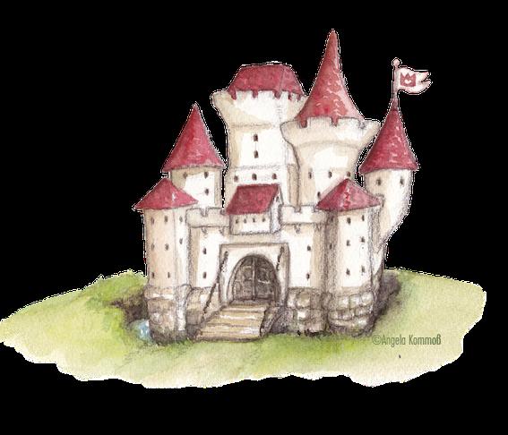Märchenschloß, kinderbuchillustration, märchen