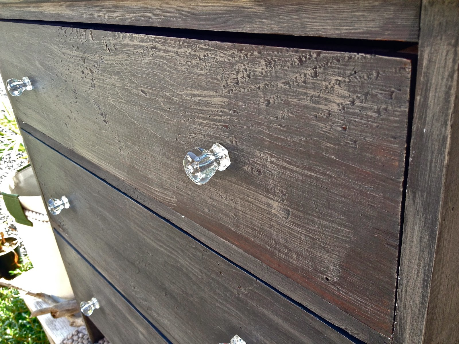 refurbished antique dresser black crystal knobs