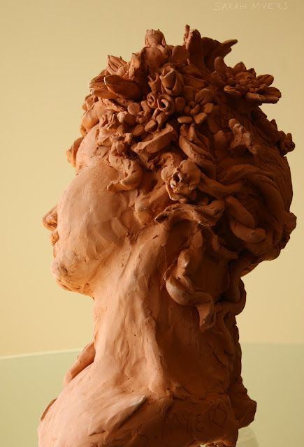 Spring, profile, sarah, myers, flowers, hair, blossoms, blooms, head, woman, face, personification, figurative, allegorical, seasons, tilt, smile, braid, sculpture, escultura, clay, red, earthenware, side