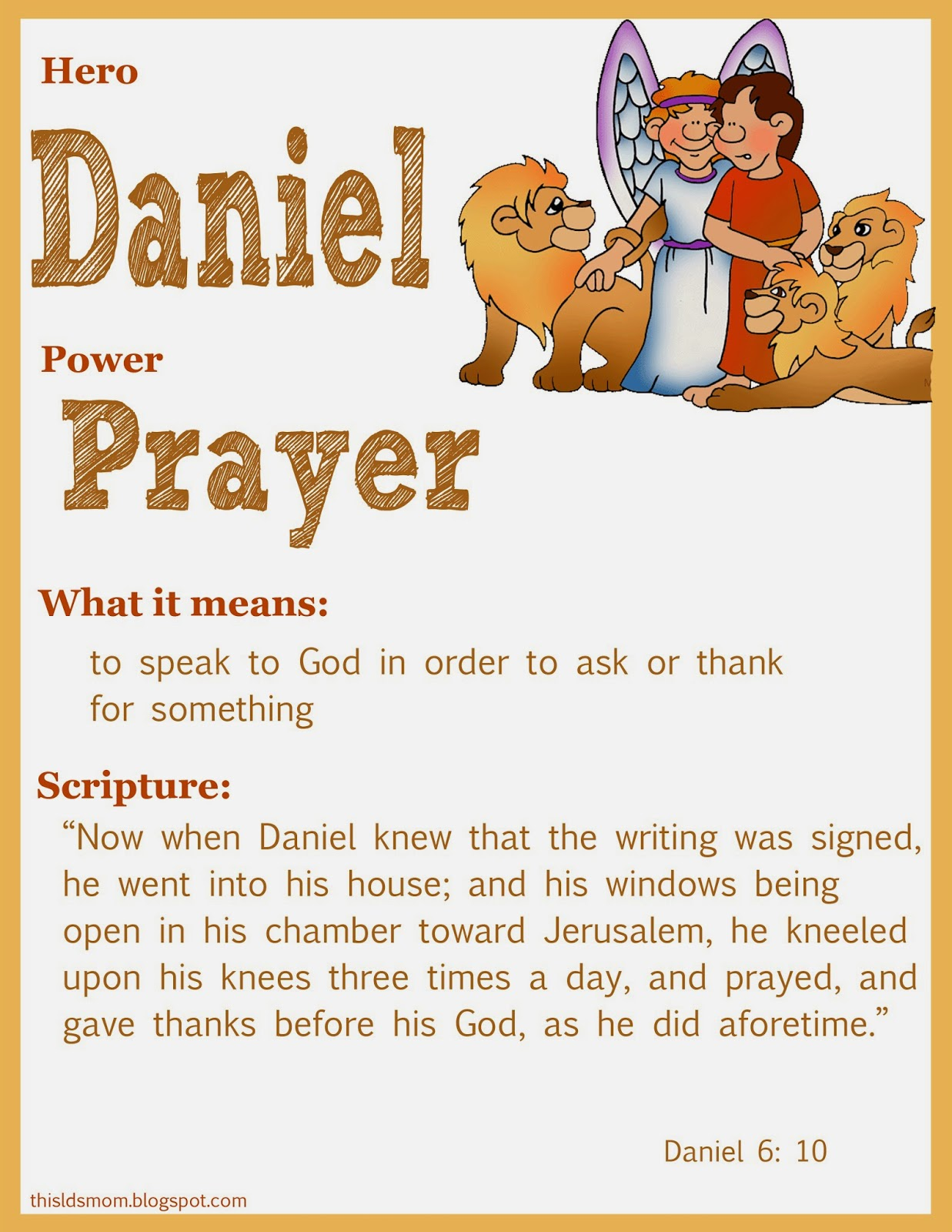 This LDS Mom Scripture Heroes Daniel In The Lions Den