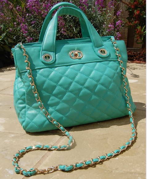 Mint Green Quilted Bag long strap