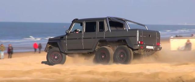 巨大な6輪SUV「メルセデスベンツG63 AMG 6x6」がビーチを走る!