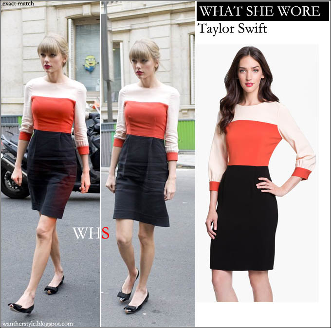 WHAT SHE WORE  Taylor Swift in colorblock white red and black dress in Paris  ~ I want her style - What celebrities wore and where to buy it. Celebrity  Style 8036d945892
