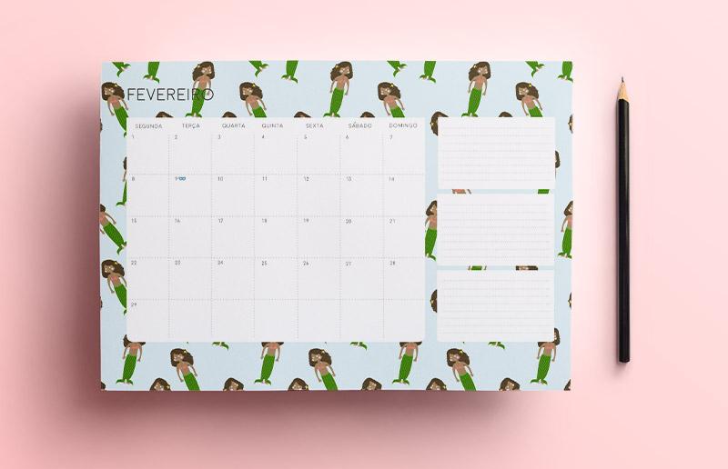 Calendário de fevereiro de graça para você imprimir e organizar o mês inteiro!