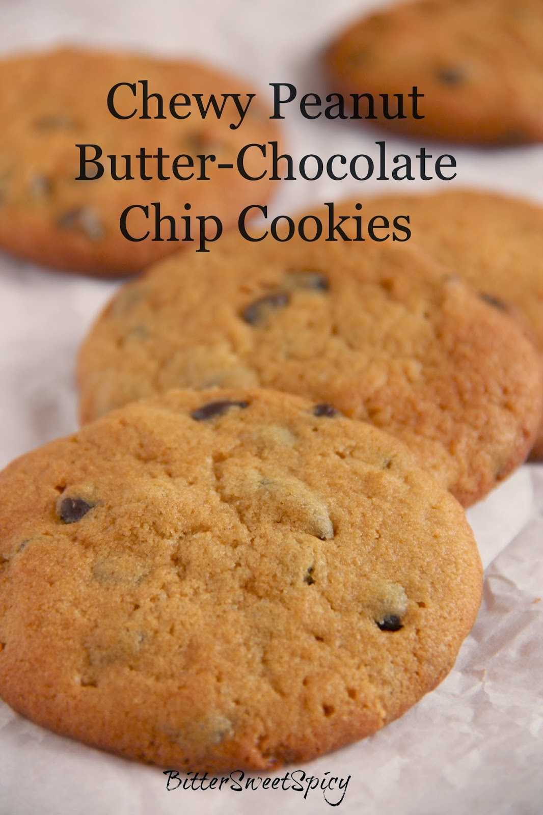 Chewy Peanut Butter-Chocolate Chip Cookies @ BitterSweetSpicy