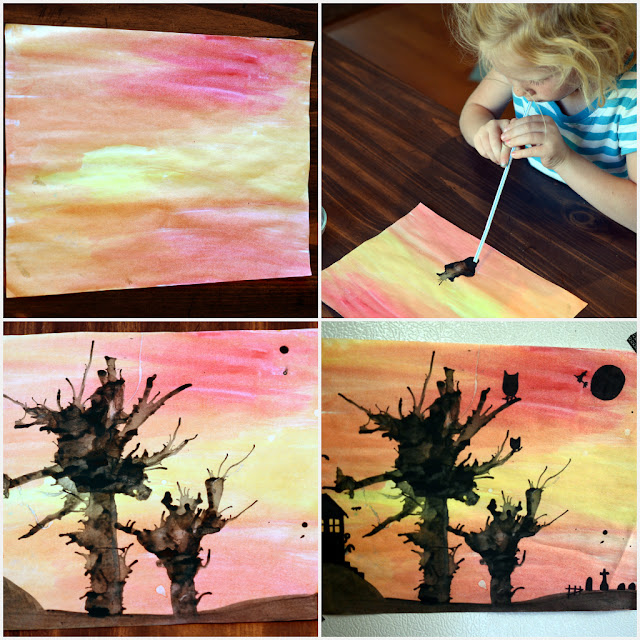 water color and ink craft, spooky tree craft, water color ideas for kids