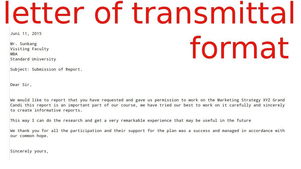 Transmittal Letter Format Letter Format 2017 – Transmittal Format