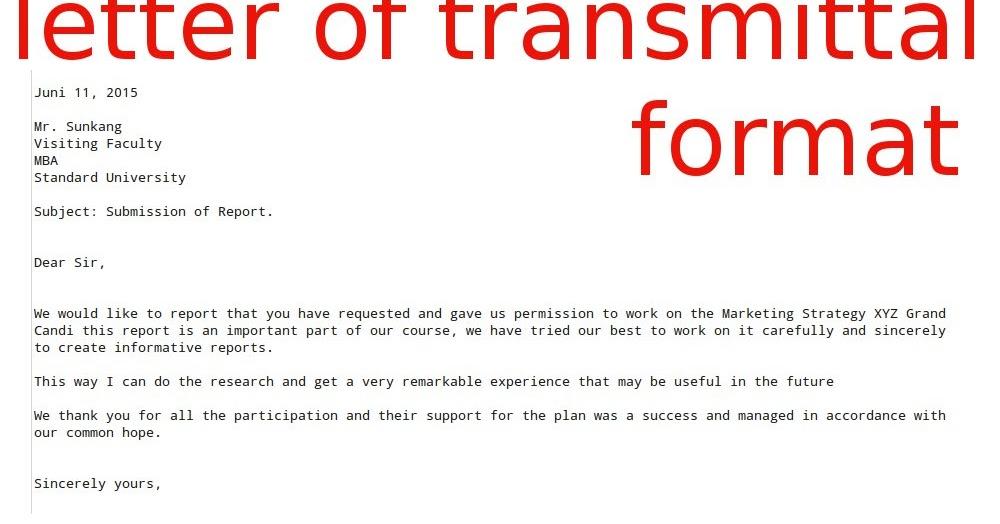 letter of transmittal format samples business letters