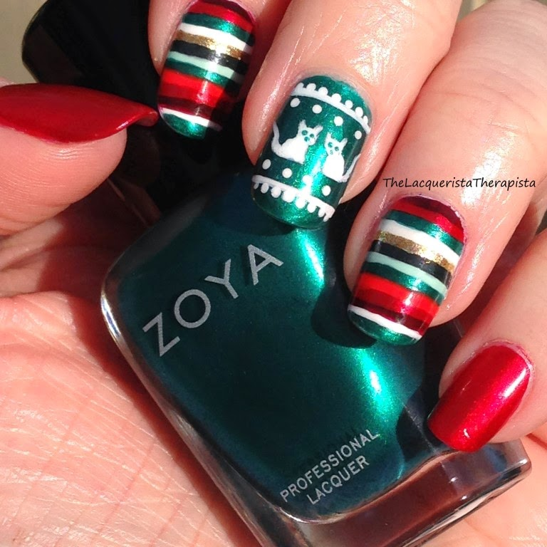 holiday; stripes; ugly sweater; cats; red; teal; christmas; cat; sweater; mani; nail art