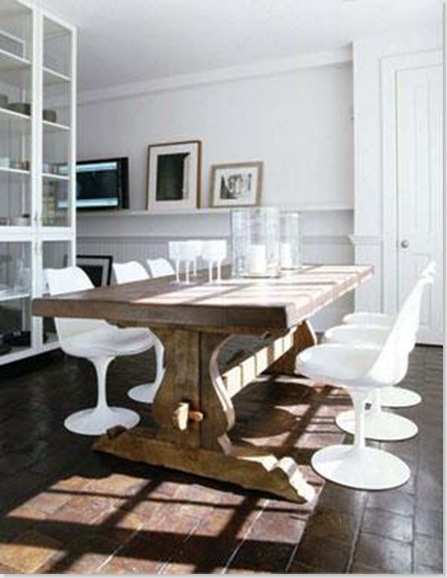 Dwellers without decorators white chairs wood tables for Modern farmhouse table plans