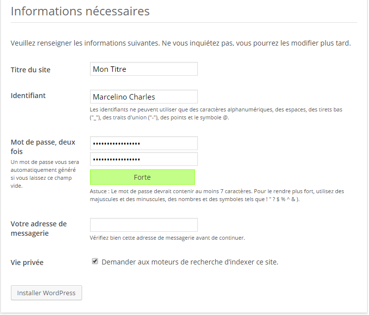 On fini l'installation du blog WordPress