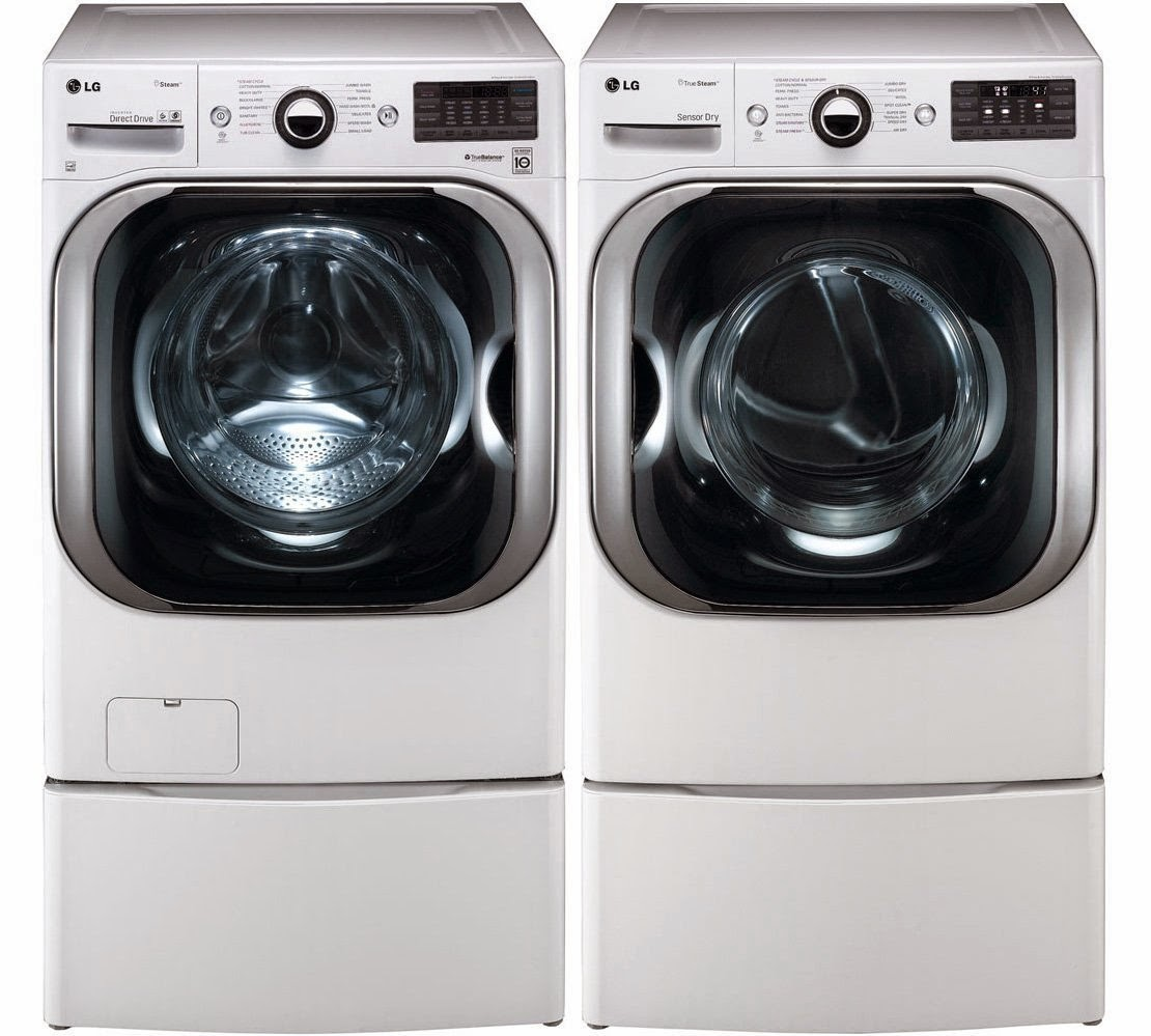 lg white 51 cf front load steam washer and 90 cf steam dryer sets