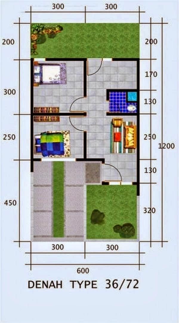 Denah Rumah Minimalis Type 36 e