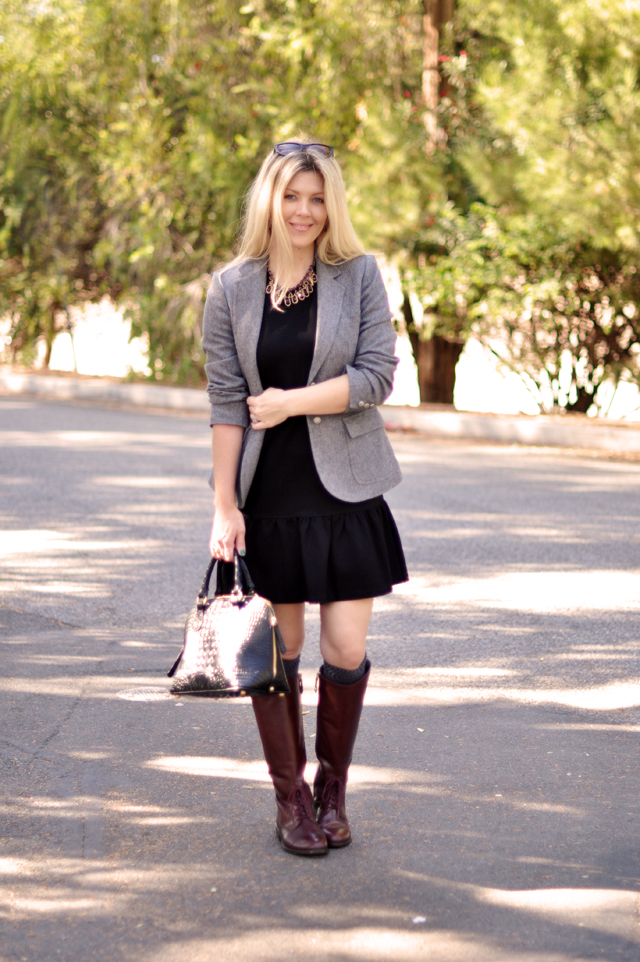 drop waist dress, vintage blazer, oxblood riding boots