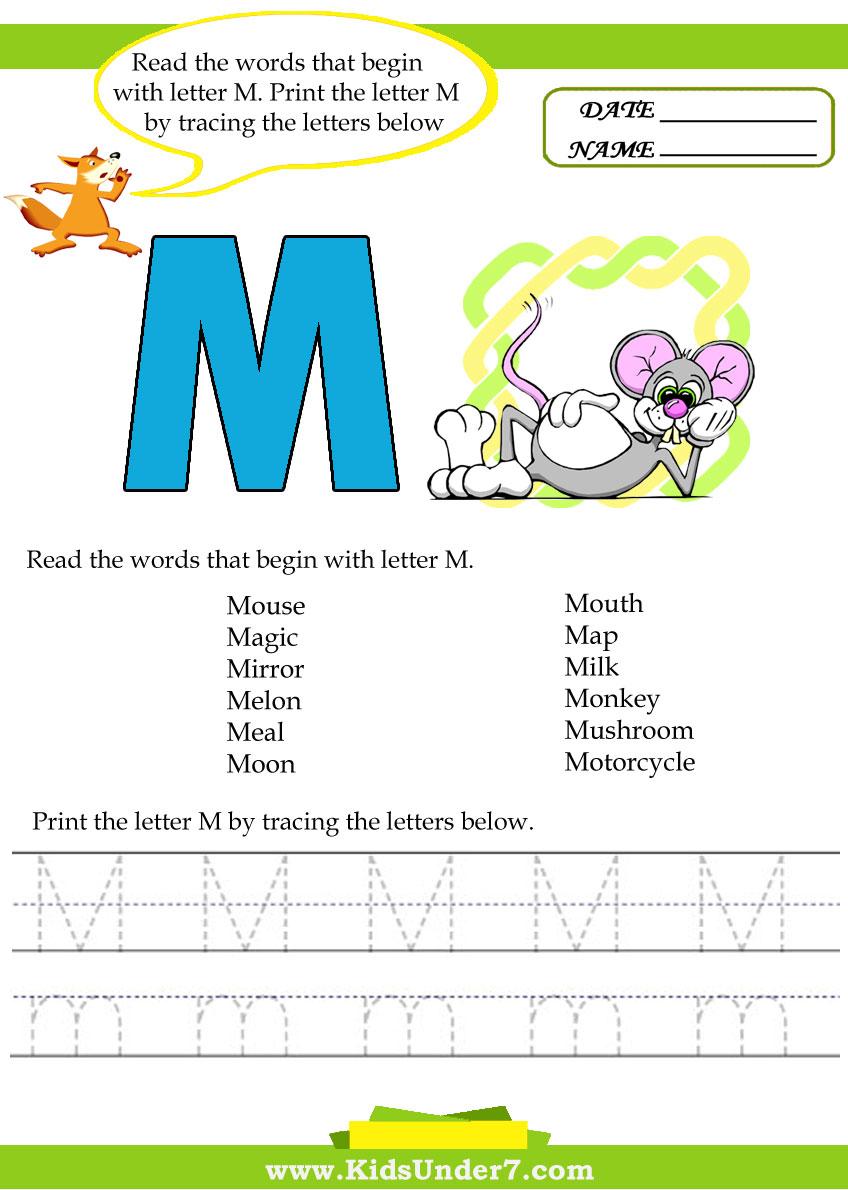 kids under 7 alphabet worksheets trace and print letter m