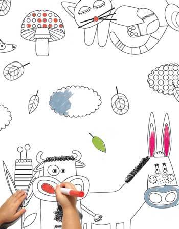 Designcardamom pareti su cui disegnare - Papier peint a colorier ...