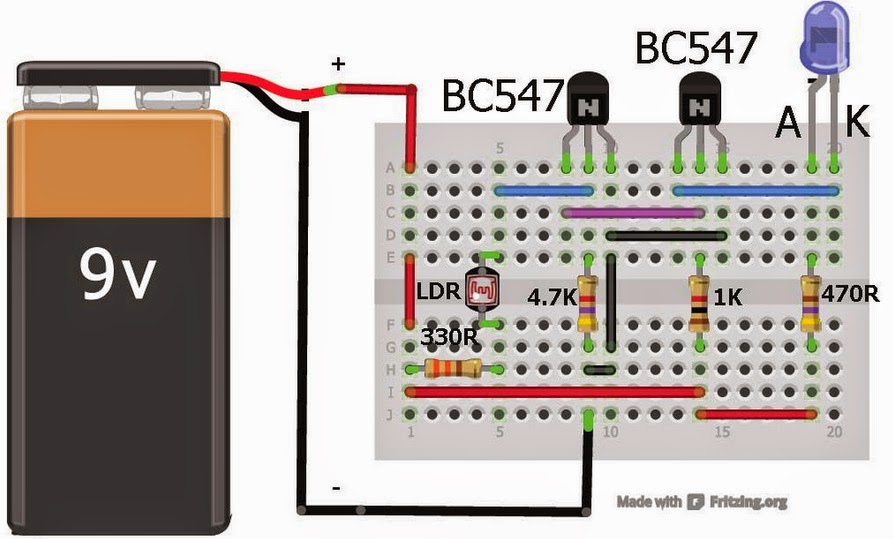 Dark Sensor    using    LDR on    Breadboard      Mjk Circuits