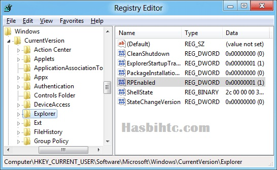 Registry Hack Window 8