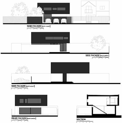 Tampak rumah minimalis hitam putih