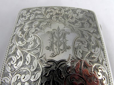 ANTIQUE SOLID SILVER ENGRAVED CIGARETTE CASE - 1904