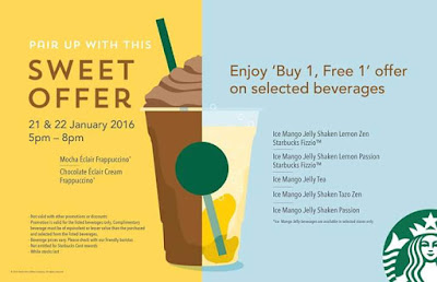 Promotions > Starbucks Buy 1 FREE 1 January 2016
